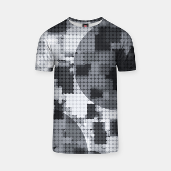 Thumbnail image of geometric circle pattern abstract in black and white T-shirt, Live Heroes