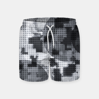 Thumbnail image of geometric circle pattern abstract in black and white Swim Shorts, Live Heroes