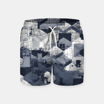 Thumbnail image of geometric square pattern abstract in black and white Swim Shorts, Live Heroes