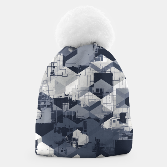 Thumbnail image of geometric square pattern abstract in black and white Beanie, Live Heroes