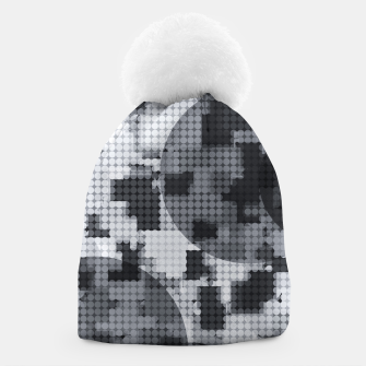 Thumbnail image of geometric circle pattern abstract in black and white Beanie, Live Heroes