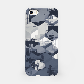 Thumbnail image of geometric square pattern abstract in black and white iPhone Case, Live Heroes