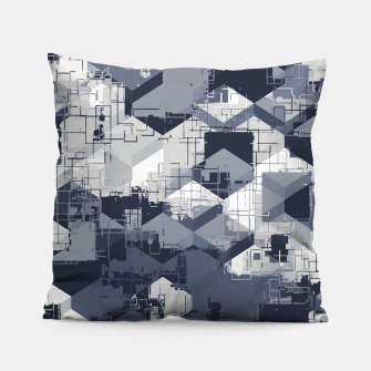 Thumbnail image of geometric square pattern abstract in black and white Pillow, Live Heroes