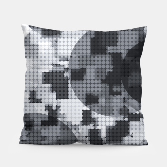 Thumbnail image of geometric circle pattern abstract in black and white Pillow, Live Heroes