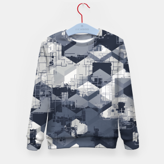 Thumbnail image of geometric square pattern abstract in black and white Kid's sweater, Live Heroes