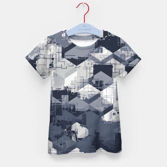 Thumbnail image of geometric square pattern abstract in black and white Kid's t-shirt, Live Heroes