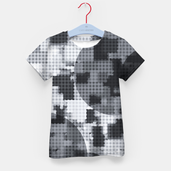 Thumbnail image of geometric circle pattern abstract in black and white Kid's t-shirt, Live Heroes