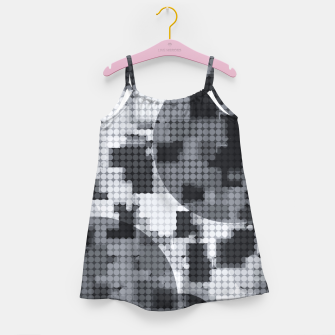 Thumbnail image of geometric circle pattern abstract in black and white Girl's dress, Live Heroes