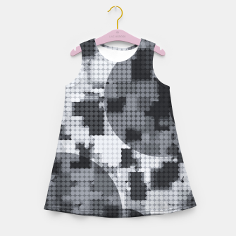 Thumbnail image of geometric circle pattern abstract in black and white Girl's summer dress, Live Heroes
