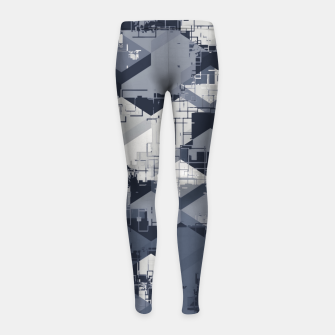Thumbnail image of geometric square pattern abstract in black and white Girl's leggings, Live Heroes