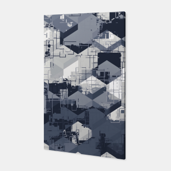 Thumbnail image of geometric square pattern abstract in black and white Canvas, Live Heroes