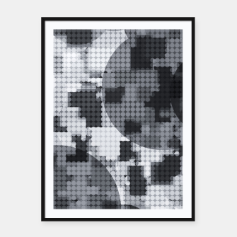 Thumbnail image of geometric circle pattern abstract in black and white Framed poster, Live Heroes