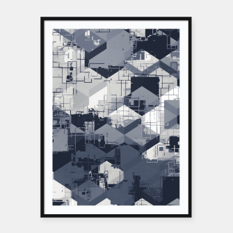 Thumbnail image of geometric square pattern abstract in black and white Framed poster, Live Heroes