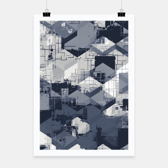 Thumbnail image of geometric square pattern abstract in black and white Poster, Live Heroes