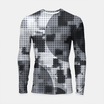 Thumbnail image of geometric circle pattern abstract in black and white Longsleeve rashguard , Live Heroes