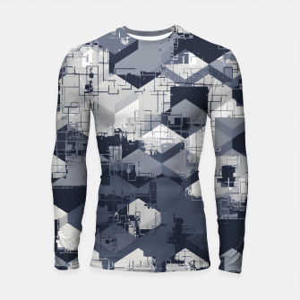 Thumbnail image of geometric square pattern abstract in black and white Longsleeve rashguard , Live Heroes