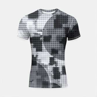 Thumbnail image of geometric circle pattern abstract in black and white Shortsleeve rashguard, Live Heroes