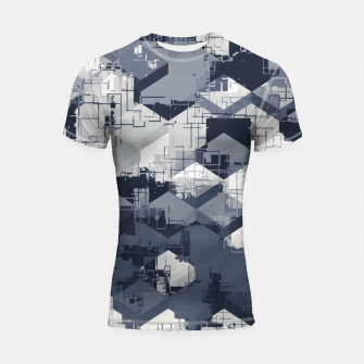 Thumbnail image of geometric square pattern abstract in black and white Shortsleeve rashguard, Live Heroes