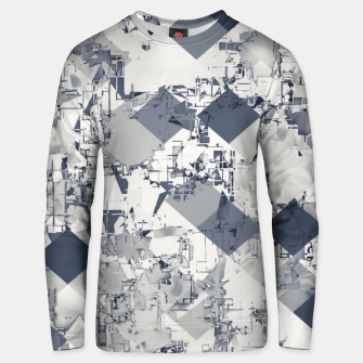 geometric square pixel pattern abstract in black and white Unisex sweater Bild der Miniatur