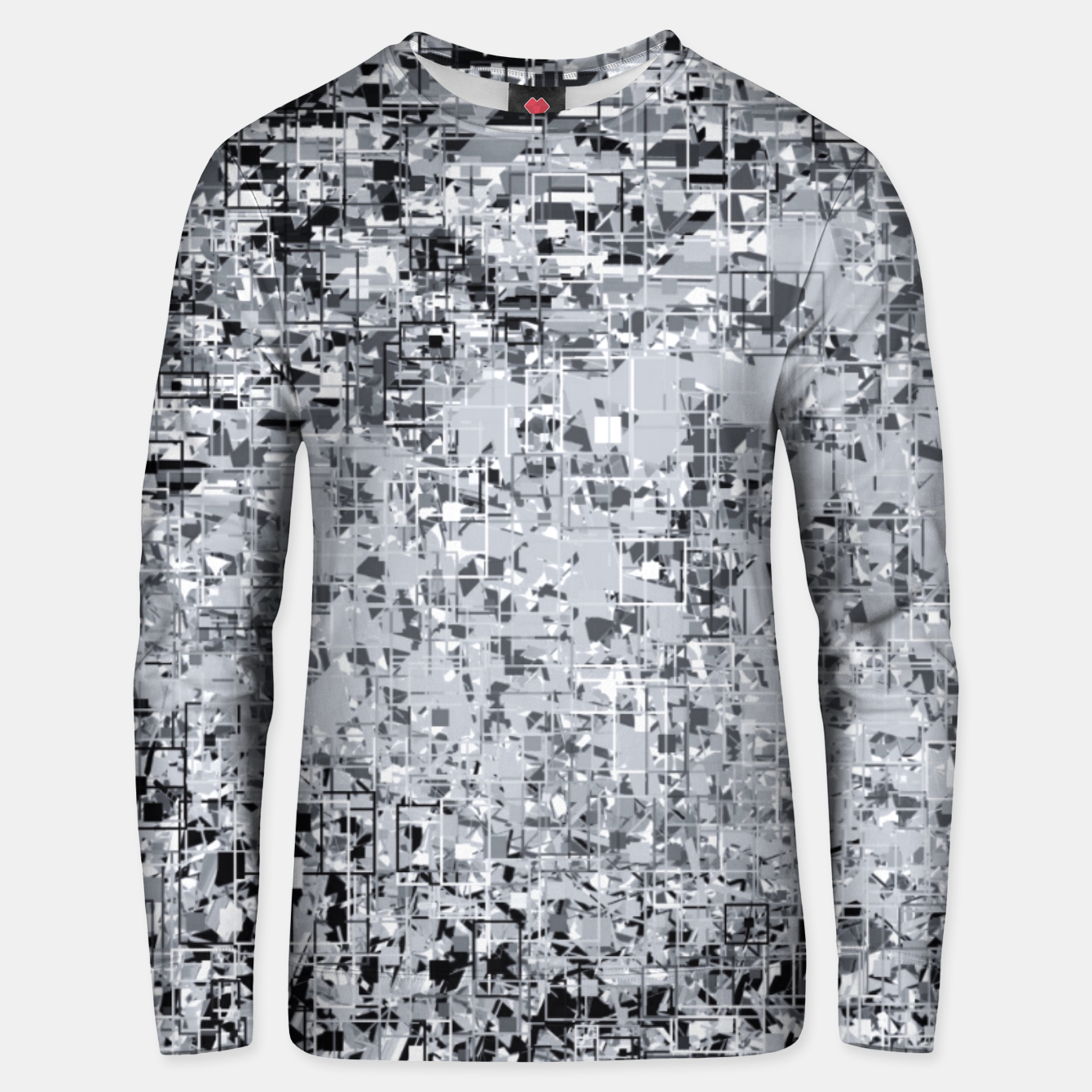 Image of geometric pattern abstract in black and white Unisex sweater - Live Heroes