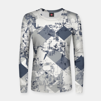 geometric square pixel pattern abstract in black and white Women sweater thumbnail image