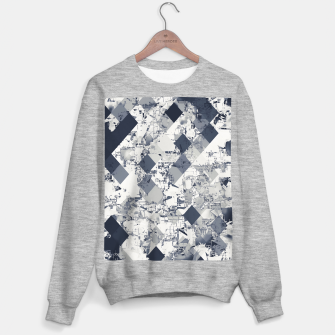 geometric square pixel pattern abstract in black and white Sweater regular Bild der Miniatur