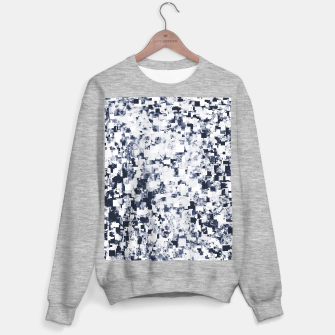 geometric square pattern abstract background in black and white Sweater regular Bild der Miniatur