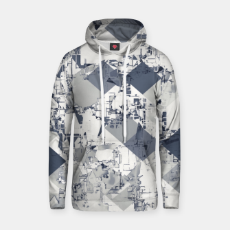 geometric square pixel pattern abstract in black and white Hoodie thumbnail image