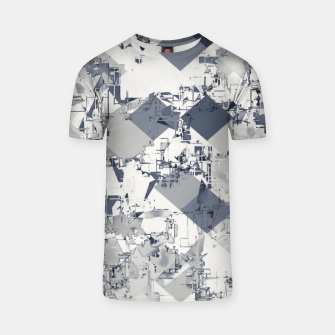 geometric square pixel pattern abstract in black and white T-shirt thumbnail image