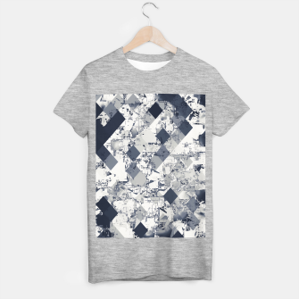 geometric square pixel pattern abstract in black and white T-shirt regular Bild der Miniatur