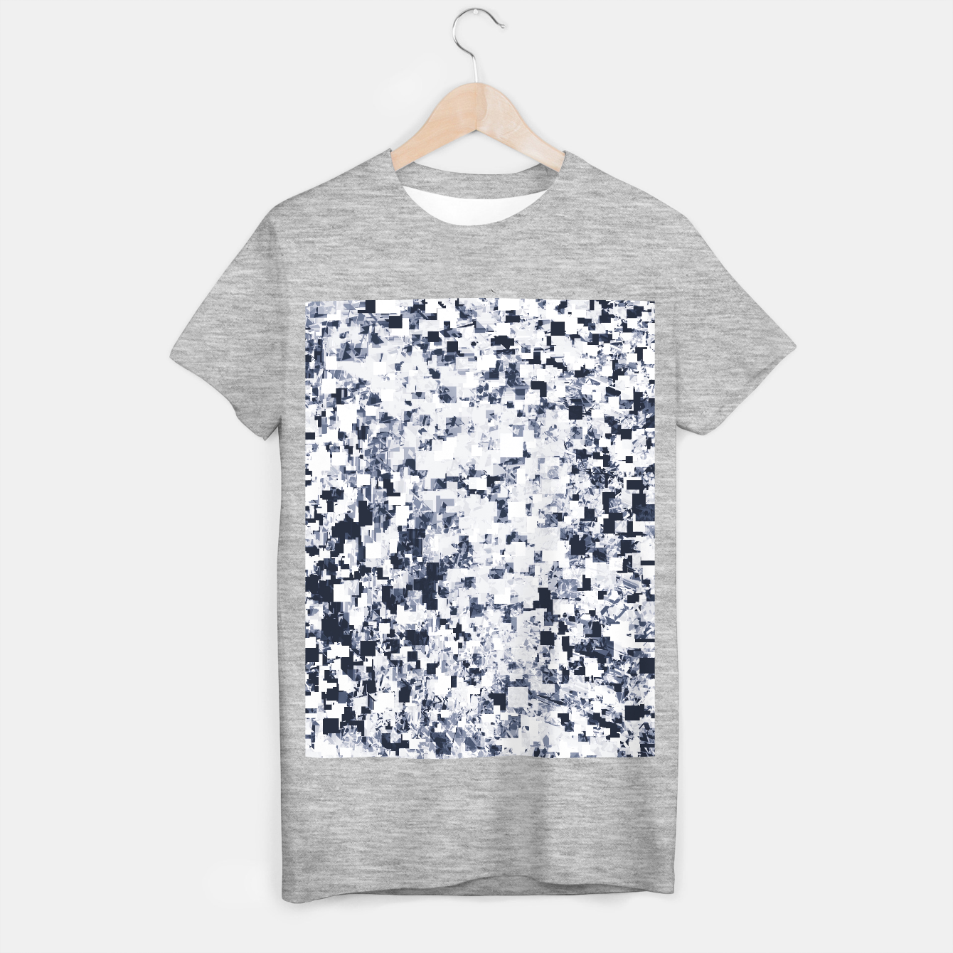 Image of geometric square pattern abstract background in black and white T-shirt regular - Live Heroes