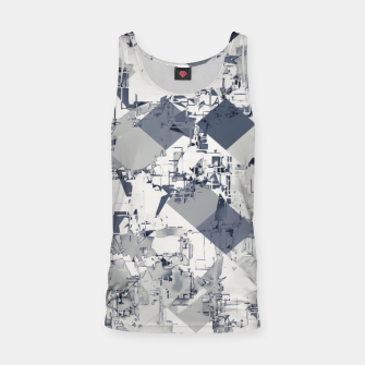 geometric square pixel pattern abstract in black and white Tank Top thumbnail image