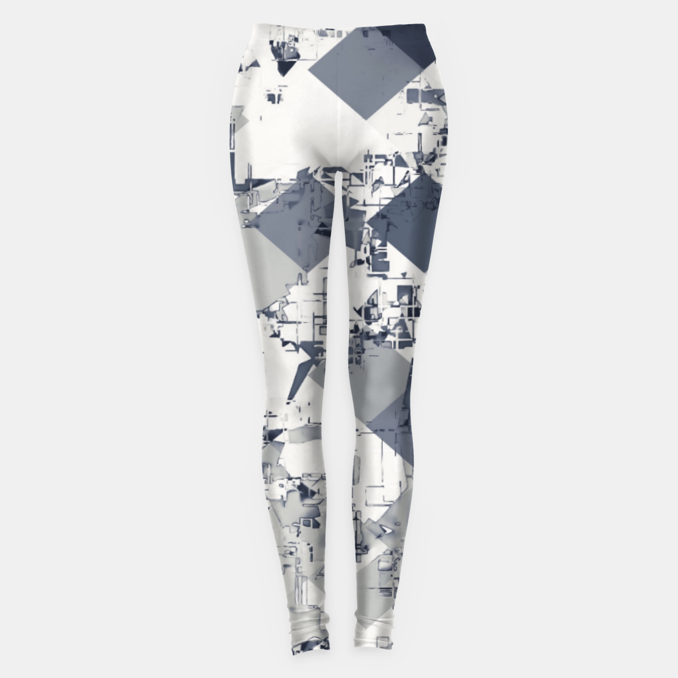 Image of geometric square pixel pattern abstract in black and white Leggings - Live Heroes