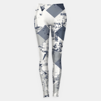 geometric square pixel pattern abstract in black and white Leggings thumbnail image