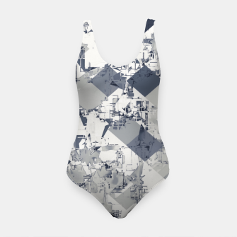 Thumbnail image of geometric square pixel pattern abstract in black and white Swimsuit, Live Heroes