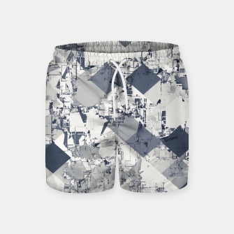 Thumbnail image of geometric square pixel pattern abstract in black and white Swim Shorts, Live Heroes