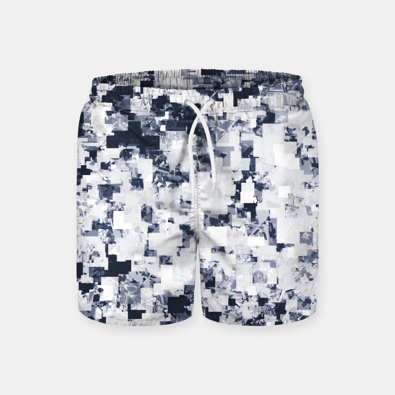 Image of geometric square pattern abstract background in black and white Swim Shorts - Live Heroes