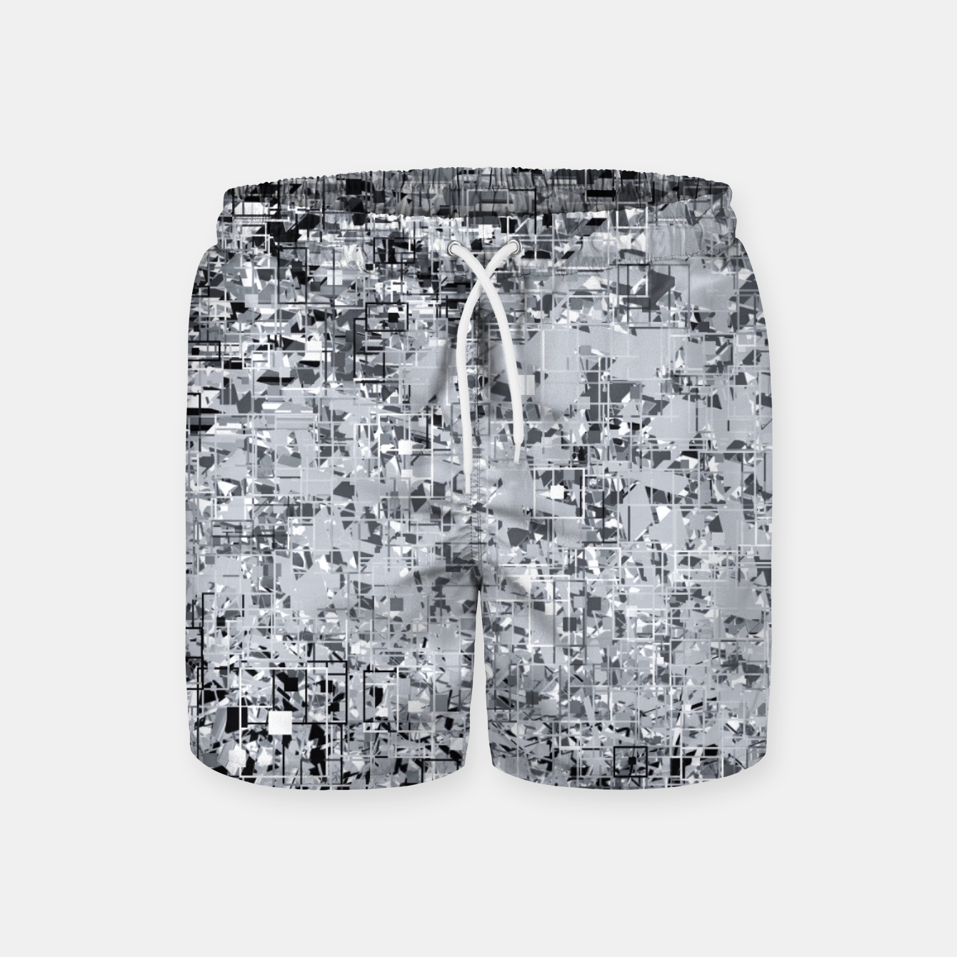 Image of geometric pattern abstract in black and white Swim Shorts - Live Heroes