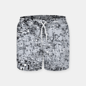 Miniatur geometric pattern abstract in black and white Swim Shorts, Live Heroes