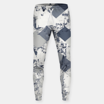 geometric square pixel pattern abstract in black and white Sweatpants thumbnail image