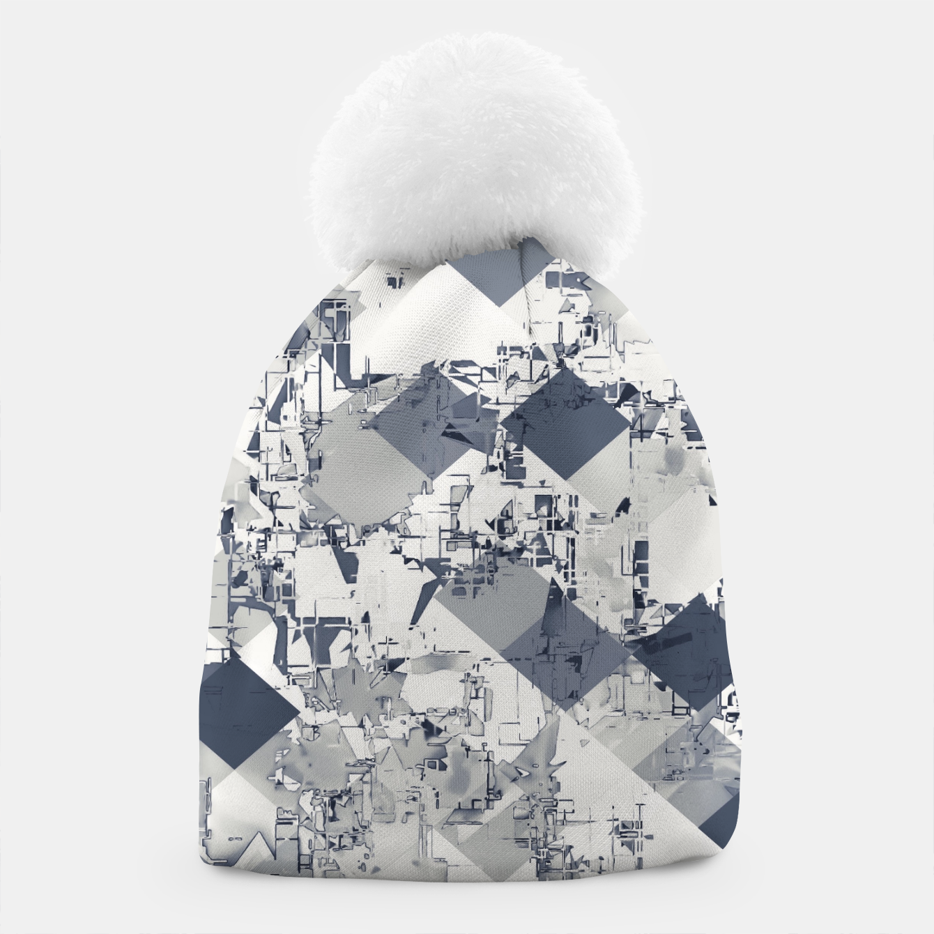 Image of geometric square pixel pattern abstract in black and white Beanie - Live Heroes