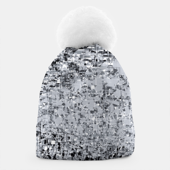 geometric pattern abstract in black and white Beanie thumbnail image