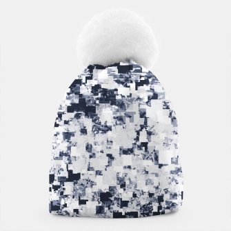 Miniatur geometric square pattern abstract background in black and white Beanie, Live Heroes
