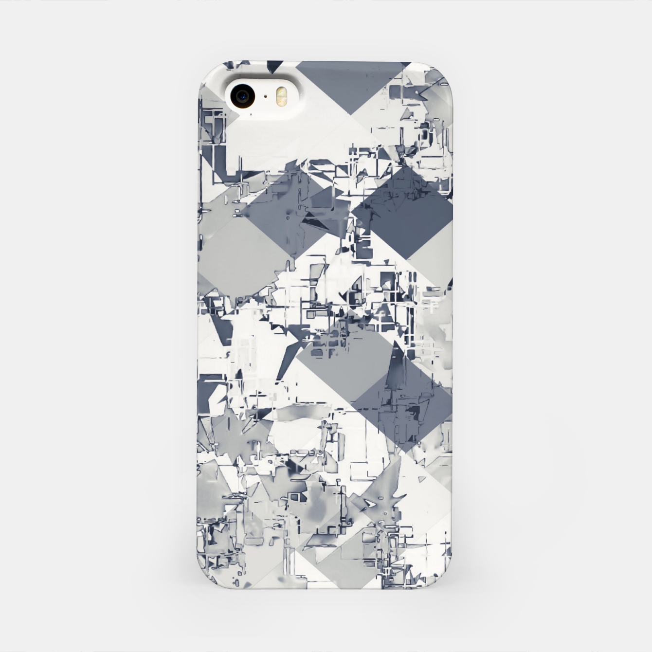 Image of geometric square pixel pattern abstract in black and white iPhone Case - Live Heroes