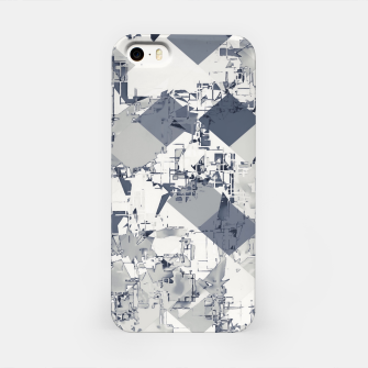 Thumbnail image of geometric square pixel pattern abstract in black and white iPhone Case, Live Heroes