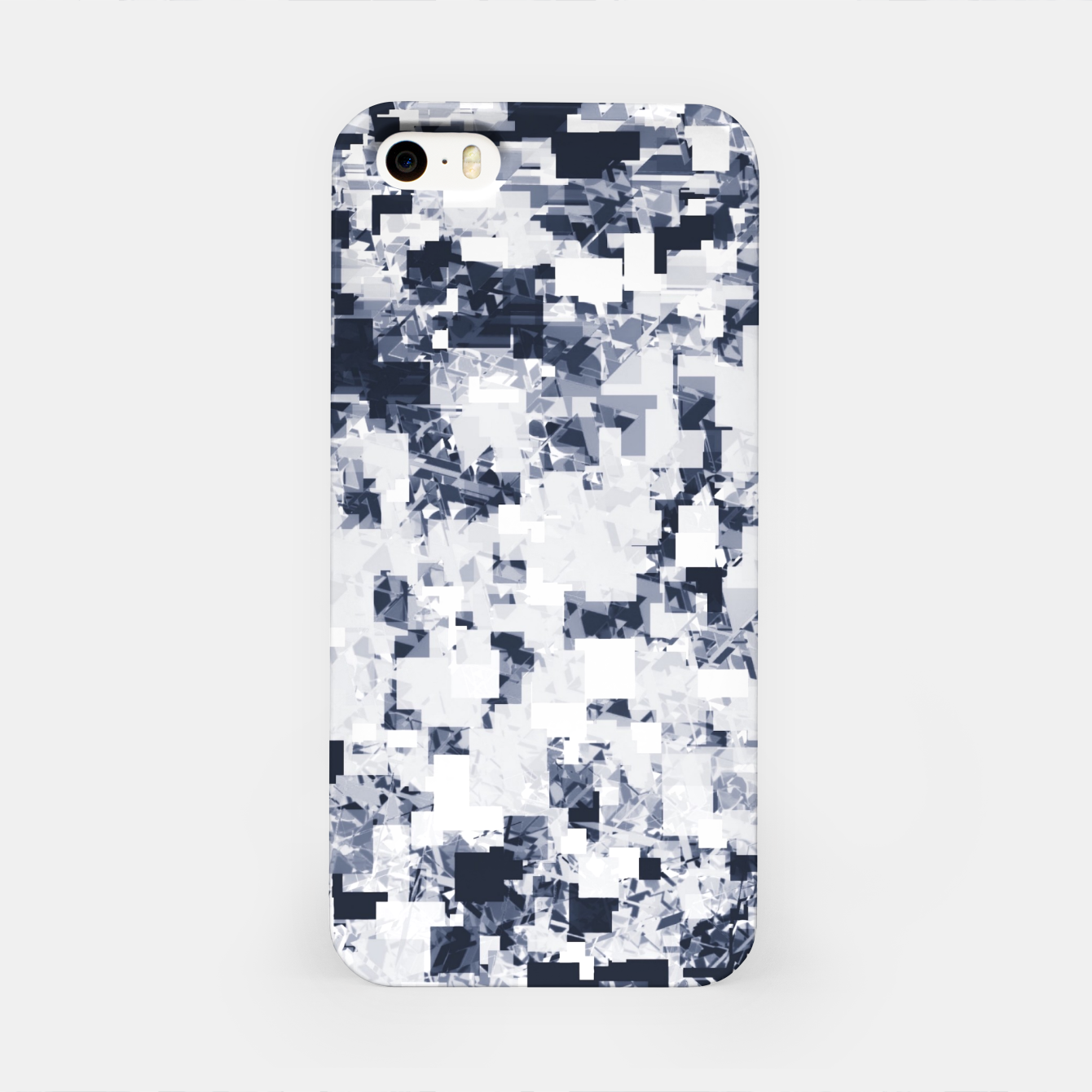 Image of geometric square pattern abstract background in black and white iPhone Case - Live Heroes