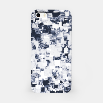 geometric square pattern abstract background in black and white iPhone Case Bild der Miniatur
