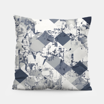 Thumbnail image of geometric square pixel pattern abstract in black and white Pillow, Live Heroes