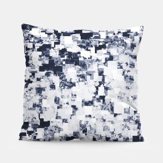 Miniatur geometric square pattern abstract background in black and white Pillow, Live Heroes