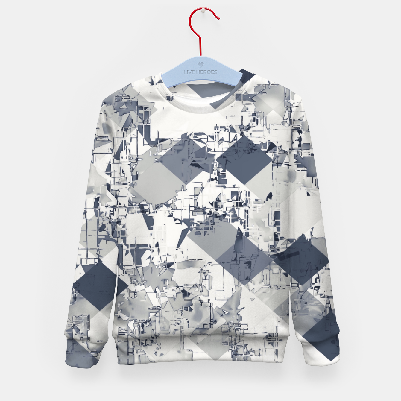 Foto geometric square pixel pattern abstract in black and white Kid's sweater - Live Heroes